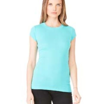 Ladies' Sheer Mini Rib Short-Sleeve T-Shirt Thumbnail