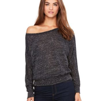 Women's Flowy Long Sleeve Off Shoulder Tee Thumbnail