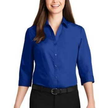 Ladies 3/4 Sleeve Carefree Poplin Shirt Thumbnail